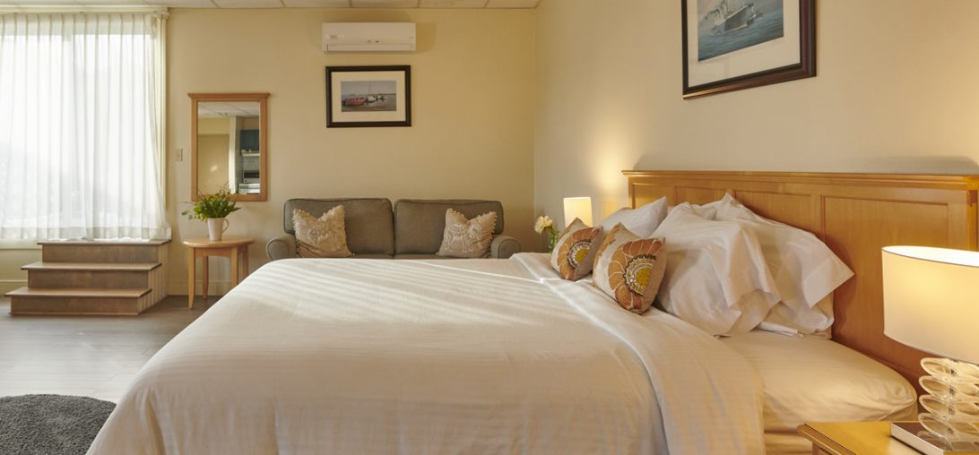 Size view of a king sized bed with a couch beside it in room 201
