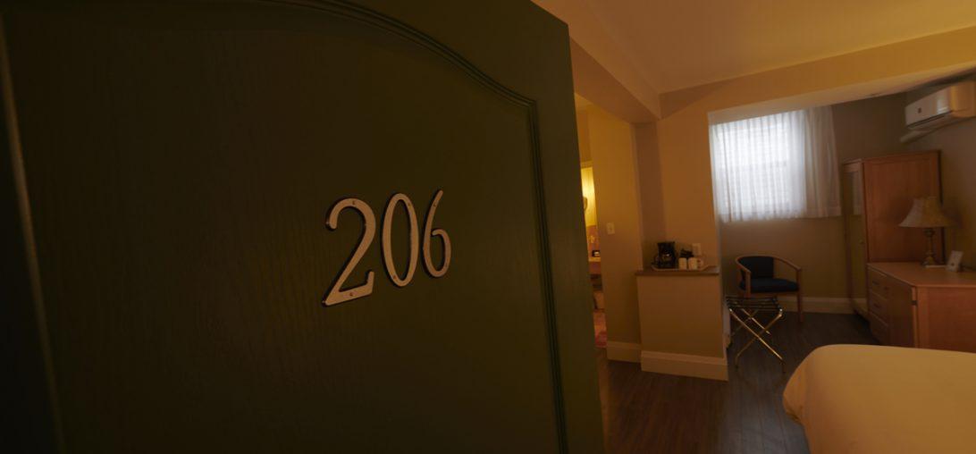 Entering Room 206 at the Smuggler's Cove Inn in Lunenburg, NS