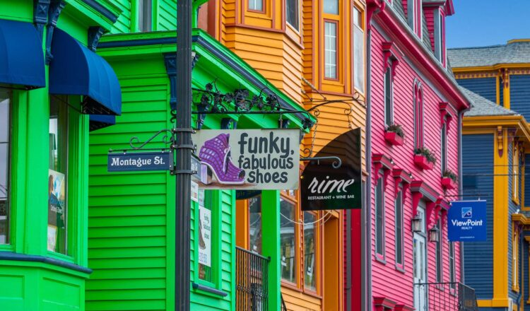 Vibrant and colorful green, orange and pink businesses.