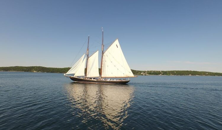 The bluenose II out on the open ocean.