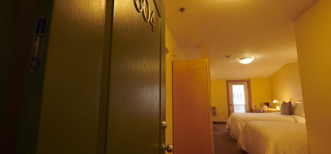 Entering room 304 of the Smuggler's Cove Inn in Lunenburg, NS