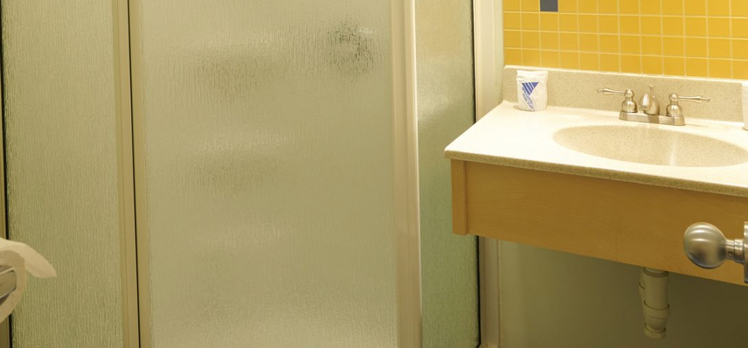 Bathroom and walk in shower in room 301