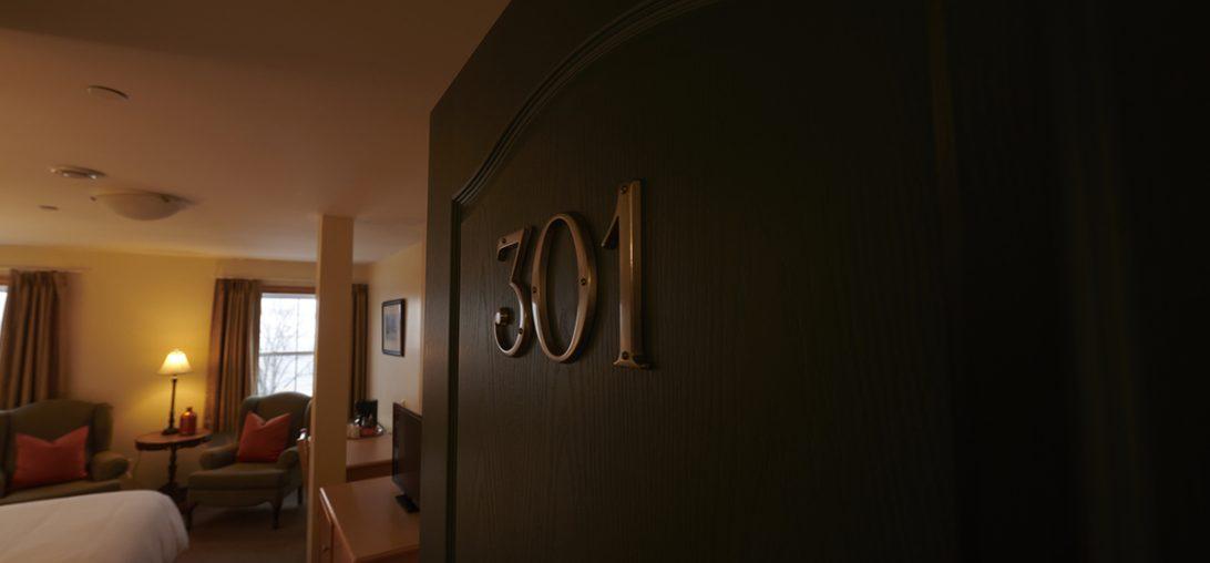Entering Room 301 of the Smuggler's Cove Inn in Lunenburg, NS.