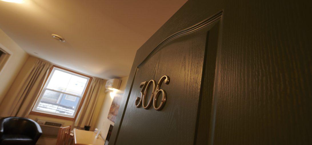 Entering room 306 of the Smuggler's Cove Inn in Lunenburg, NS.